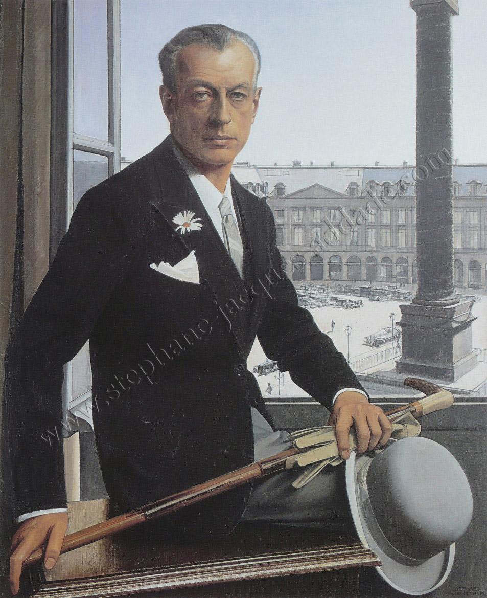 Bernard Boutet de Monvel Autoportrait devant la place Vendôme 1932
