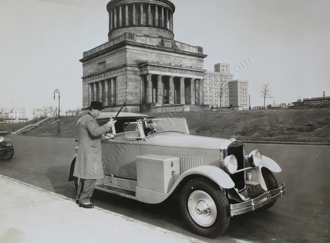 Anonymous - Promotional photograph depicting Bernard B. de Monvel and his Hupmobile in Central Park – 27 December 1928