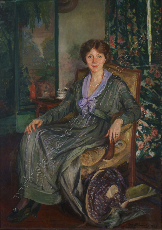 Jacques-Emile Blanche. Portrait of Lucie van Diest painted in the yellow room in Offranville in 1919