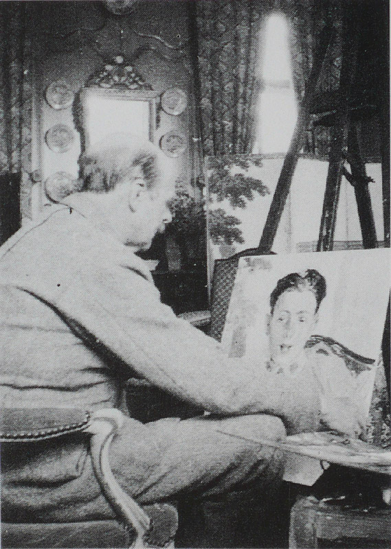 Jacques-Emile Blanche painting the portrait of Francis Poulenc in the yellow room in Offranville in July 1920